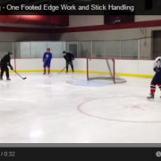 Backwards One Footed Edge Work and Stick Handling Drill